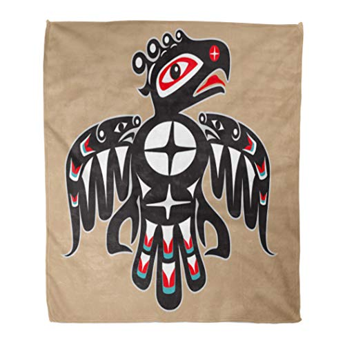 Emvency Decorative Throw Blanket 50 x 60 Inches Haida Thunderbird Native American Style Tribal North Traditional Animal Culture Fish Warm Flannel Soft Blanket for Couch Sofa Bed ()