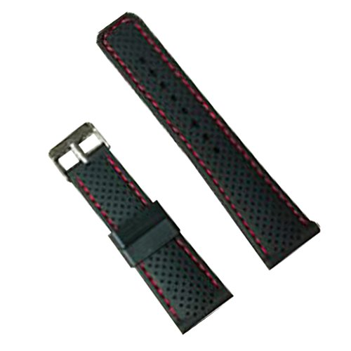 24Mm Silicone Perforated Pin Buckle Rubber Strap Diving Waterproof Sport Soft Watch Band(Red Stitching)
