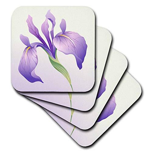 3dRose Boehm Graphics Flower - Purple Iris on a Light Purple Background - set of 4 Coasters - Soft (cst_203046_1)