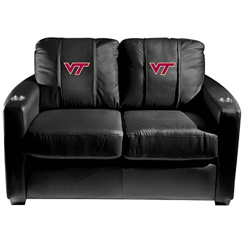 XZipit College Silver Loveseat with Virginia Tech Hokies Logo Panel, Black