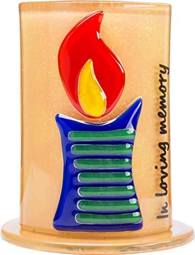 Ner Mitzvah Yahrzeit Yizkor Handmade Glass Candle Holder - Yartzeit Memorial Decorative Candle Holde