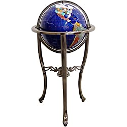"Unique Art Since 1996 Brand 37"" Tall Bahama Blue Pearl Swirl Ocean Floor Standing Gemstone World Globe with Tripod Silver Stand and 50 US State Stones"