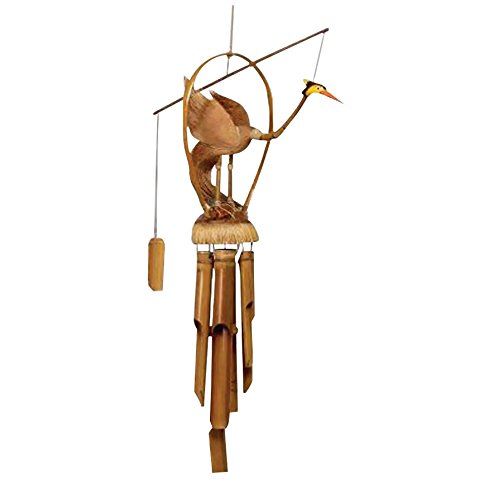 Rockin Gear Wind Chime Bamboo Noisemaker Hand Carved Flamingo on Cocunut Shell Beautiful Soothing Noise Exotic Ornament Arts Collection (Paradise Tiki Hut)