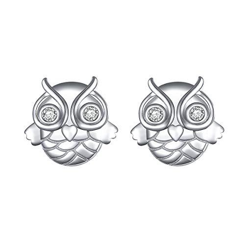 - Owl Earrings Sterling Silver Lucky Owl Stud Earrings for Women Girlfriend Daughter