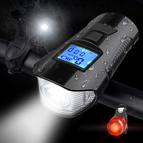 LED Bike Cycling Solar USB Charging Front Head Warning Flashlight Lamp with Horn