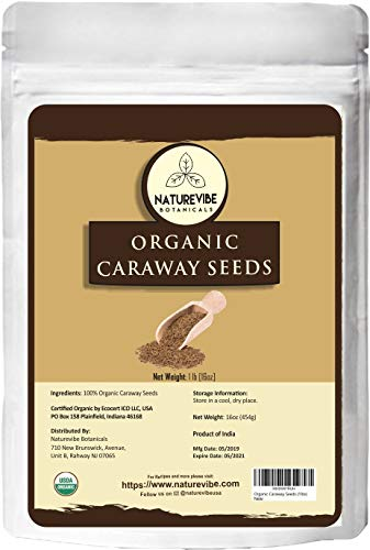 Naturevibe Botanicals Organic Caraway seeds, 1lb | Non-GMO and Gluten Free | Indian Spice