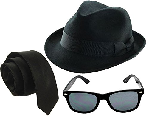 GUBA Men's 1980's Blue Brothers et Costume Hat Tie Glasses Sideburns One Size - Costume The Brothers Blues