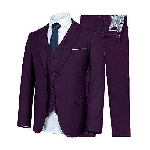 - WULFUL Men's Suit Slim Fit 3 Piece Suit Blazer Two Button Tuxedo Business Wedding Party Jackets Vest&Trousers