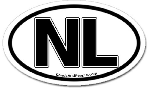 Holland NL Netherlands Car Bumper Sticker Decal Oval Black and White ()