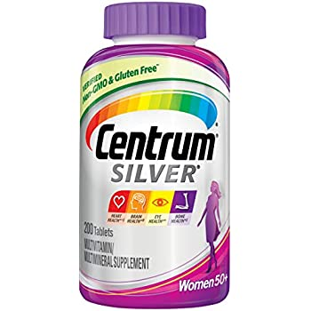 Centrum Silver Women Multivitamin / Multimineral Supplement Tablet, Vitamin D3, Age 50+, 200 Count (Pack of 1)