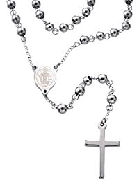 """30"""" Stainless Steel Rosary Beads Necklace for Catholic Pray Use with Saint Benedict Engraved"""