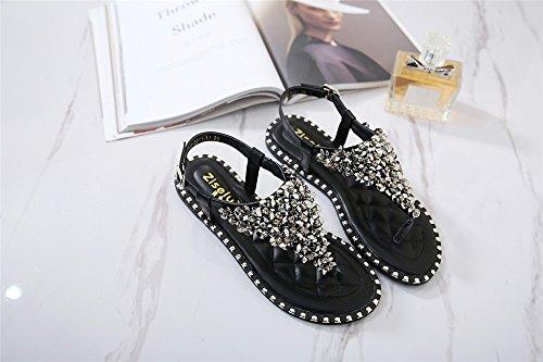 LIVY 2017 verano nuevas sandalias de cuentas de lujo zapatos de suela blanda con sandalias planas de los zapatos de moda Negro