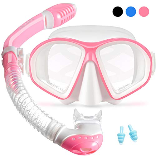 Supertrip Kids Snorkel Set-Scuba Dry Top Diving Mask Anti-Leak Impact Resistant Panoramic Tempered Glass Easybreath Snorkeling Packages Professional Swimming gear for Youth Boys and Girls (White pink)