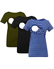 Smallshow Women's Nursing Top Striped Short Sleeve Breastfeeding Comfy T-Shirt 3-Pack