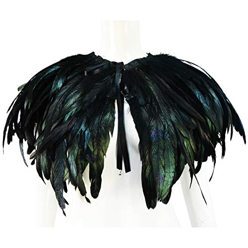 Homelix White Black Feather Cape Shawl Collar