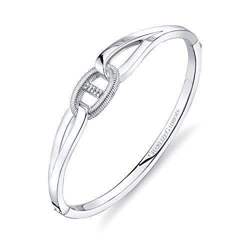 CHARLIZE GADBOIS 925 Sterling Silver Diamond Center Buckle Cuff Bangle Bracelet, White Rhodium by Gadbois Jewelry