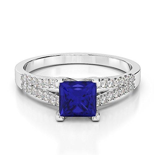 Or blanc 18carats 1CT G-H/VS Certifié saphirs et diamants taille princesse Bague de fiançailles Agdr-1211