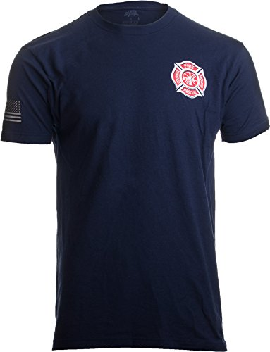 Firefighter Maltese Cross - Firefighter Maltese Cross | Fire Fighter Rescue Courage Honor Red Line T-Shirt-(Navy,L)