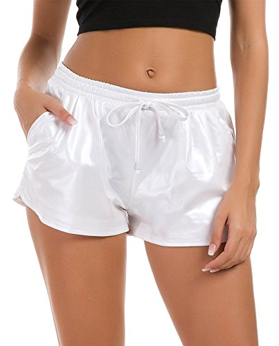 (Tandisk Women's Yoga Hot Shorts Shiny Metallic Pants with Elastic Drawstring White)