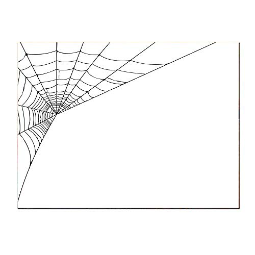 SATVSHOP Modern Painting-24Lx24W-Modern Spider Web Icon Background Abstract Form Halloween Scary Evil Themed Illustration Black White.Self-Adhesive backplane/Detachable Modern Decorative Art. -