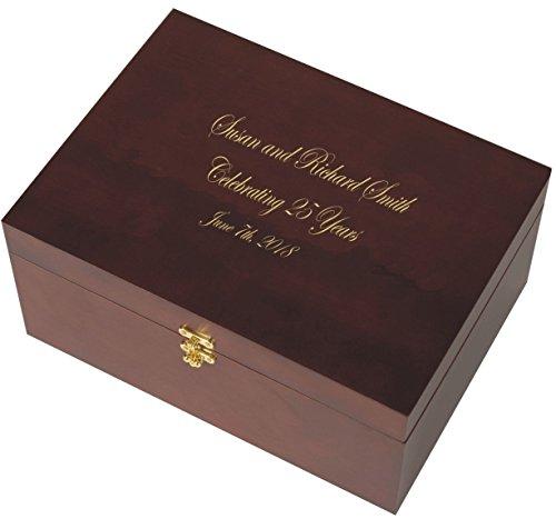 Small Cherry Wooden Memory Box - Keepsake Chest - Storage Box - Custom Engraving (Edwardian Font with Gold Lettering)