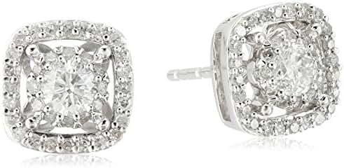 10k White Gold Square Shape Diamond Stud Earrings (1/2cttw, H-I Color, I2-I3 Clarity)