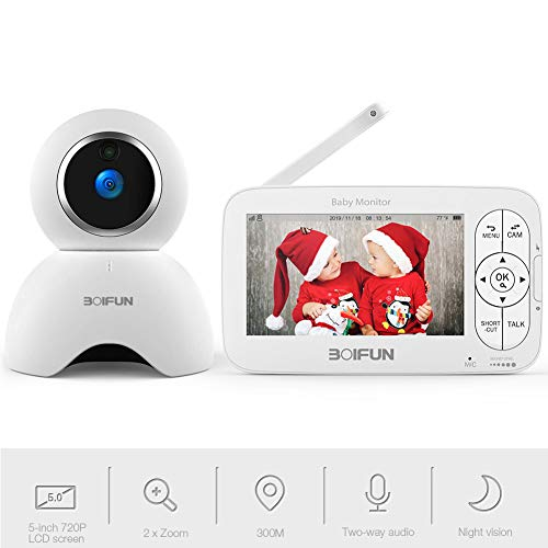 Video Baby Monitor, 5 inch Baby Monitor with 720P Camera Remote Pan/Tilt/Zoom, Two-Way Audio, Crisp Night Vision Image, 300M Range, Anti-Hack Encryption, Temp Monitor