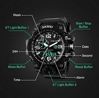 Amazon.com: Reloj de Hombre Digital Electrónico a Prueba de Agua LED Reloj Casual Quartz Multifunción 12H / 24H Tiempo.: Cell Phones & Accessories