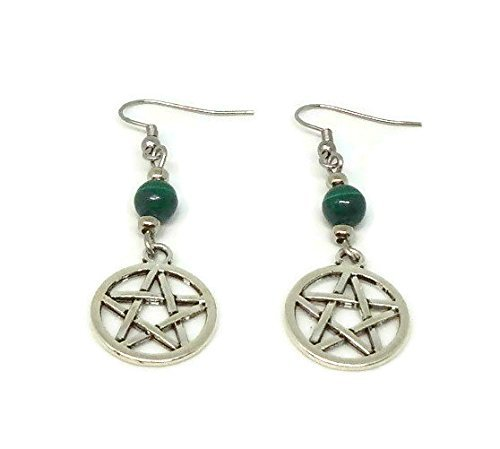 Pentacles Earrings with Malachite Beads - Drop Earrings With Pentagrams - Wicca Pagan Jewelry