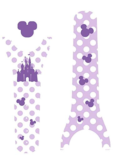 Vinyl Skin Decal Wrap Sticker Cover for The MagicBand 2 | Magic Band 2.0 Purple Polka Dots Princess Castle]()