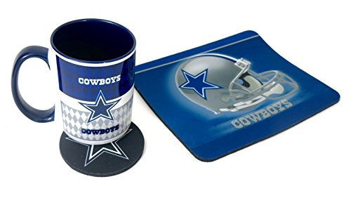 Computer workstation set, Dallass cowboys set includes a mouse pad, coaster and a Jumbo 15 oz coffee mug . (Coffee Mug Pad Mouse)