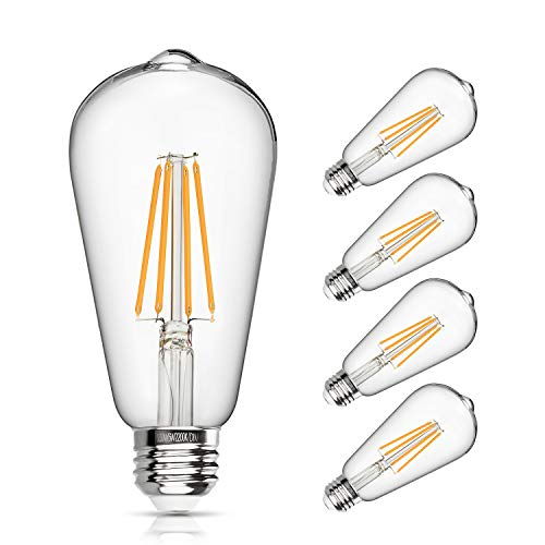 LED Edison Bulb Dimmable 6W Vintage Led Light Bulb 60W Equivalent 2200K Warm White 520 Lumen ST64 Led Filament Bulb E26 Medium Base Decorative Clear Glass for Bathroom Kitchen Dining Room, 4 Pack
