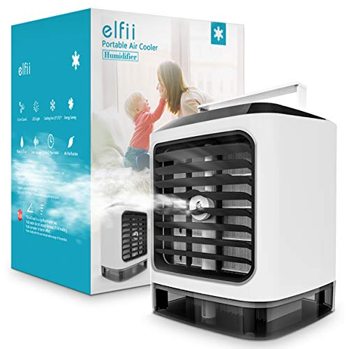 Elfii Portable Air Conditioner | Personal Space Cooler,Humidifier,Moist,Low Noise,Purifies Air, LED Light, Evaporative Small Desk Fan | Mini Coolair AC for Home/Office/Bedroom/Outdoor