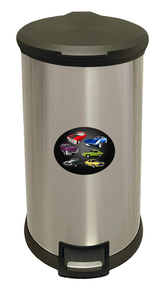 8 Gallon Round Stainless Steel Step-On Trash Can Featuring Your Choice of a Car, Train, or Truck Themed Vinyl Decal - Free Trash Bag Included (Muscle Cars Original)