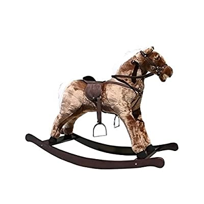 "Alexander Taron Large Brown Rocking Horse with Sound Effects 31""H x 16""W x 41.5""D by Alexander Taron"