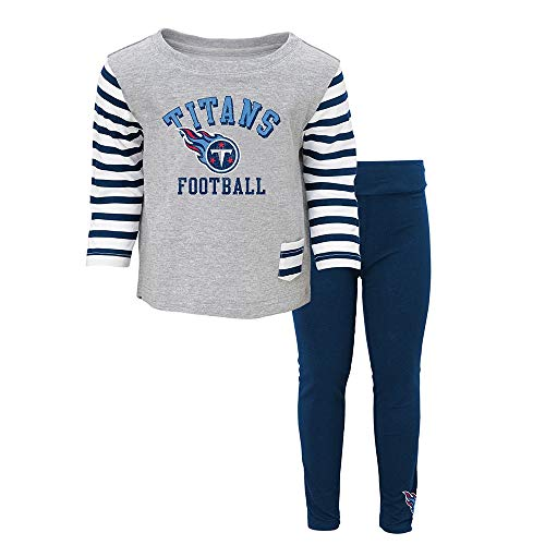 Outerstuff Tennessee Titans NFL Grey Little Big Girl T-Shirt & Pants Set Toddler - Titan Shirt Pocket