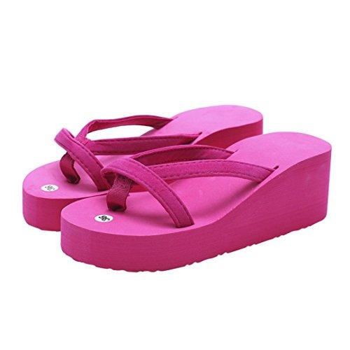 Mujer Zapatos Zha Sandalias tacón Plataforma Las Moda para Sandalias de Estilo Alto Rojo Verano Alto de Zapatillas Hei tacón Mujeres Verano de Playa Rose Antideslizante De Chanclas Ba de de wpIdqp