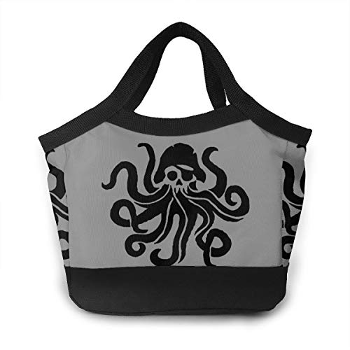 YVONNE WIDLAN Polyester Lunch Bag Tote Reusable Waterproof Lunchbox Octopus Sea Fish Carry Handbags with Leak Proof Liner for Men, Women -
