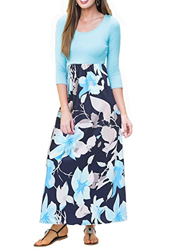 Sleeve Women's Floral Print BLUETIME Dress Boho 3 Green Maxi Casual Long 4 Pleated Dress gvxppB