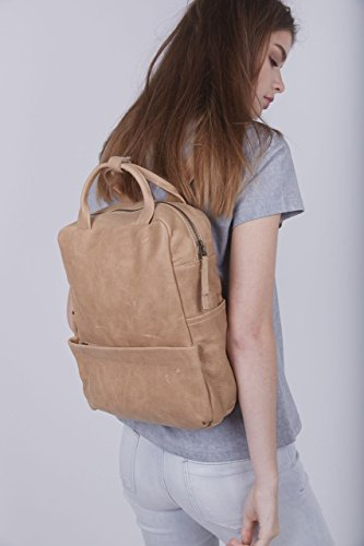 Handcrafted Lightweight Camel Brown Leather School Backpack Fits 13 Inch Laptop by Lady Bird Bags