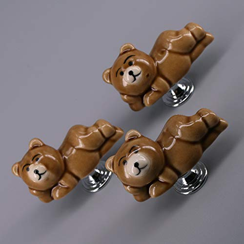 Jacana Boutique 5PCS Lovely Bear shape Furniture Drawer Knobs for Kids Room Cartoon Children Cabinet Knobs and Handles Wardrobe Pull handle