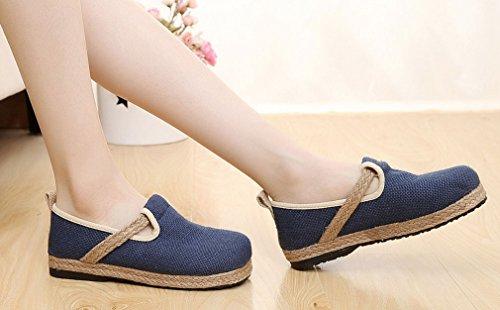 Toe Womens Soojun Linen Espadrilles Exotic Round Navy Shoes Flat XxfZR