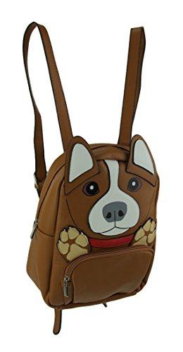 Sleepyville Critters Brown Vinyl Corgi Dog Backpack Small