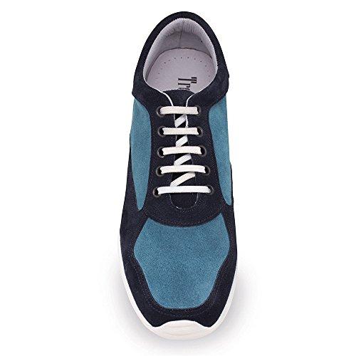 Scarpe con Rialzo da Uomo Che Aumentano l'Altezza Fino a 7 cm. Fabbricate in Pelle. Modello Matera Bicolore Blu