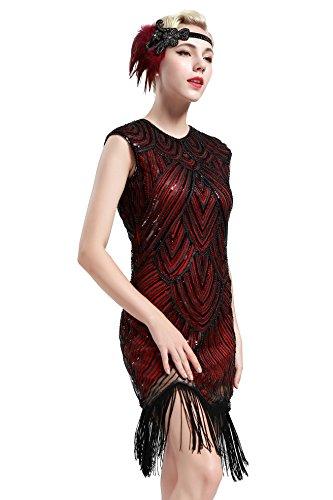 BABEYOND Women's Flapper Dresses 1920s Beaded Fringed Great Gatsby Dress -
