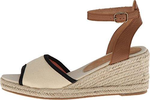 Soludos Women's Wedge Sandal Linen Natural/Black Sandal 8 B (M)