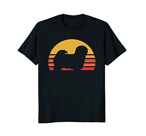 Retro Sun Lhasa Apsos Silhouette T-shirt For Dog Lovers -