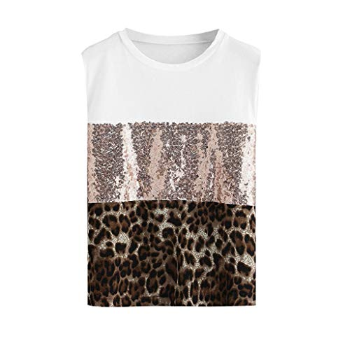 - Fashion Womens Pacthwork Leopard Print Sequin Sleeveless Tee Casual Blouse Top