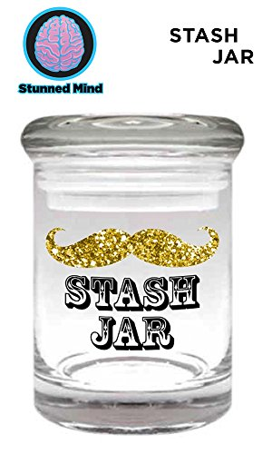 3oz OFFICIAL 'Stache Jar PREMIUM GOLD Foil Printed Pop Top ACRYLIC Stash Jar- Airtight Smell Proof Shatter Resistant Glass Herb Storage Container (BPA-Free)