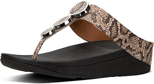 FitFlop Women's Halo Toe Thong Sandals Taupe Snake 8